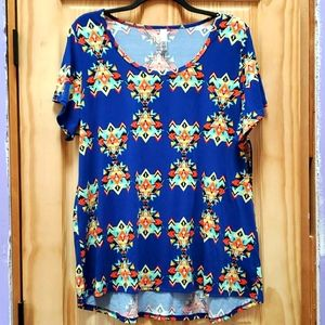 LulaRoe high-low 3X top, blue aztec print